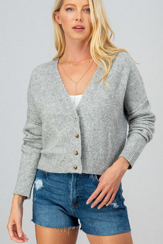 Button Down Cropped Cardi - S / HEATHER GREY ShopatGrace.com
