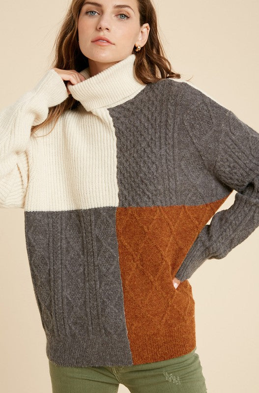 Color Block Turtleneck Sweater -  ShopatGrace.com