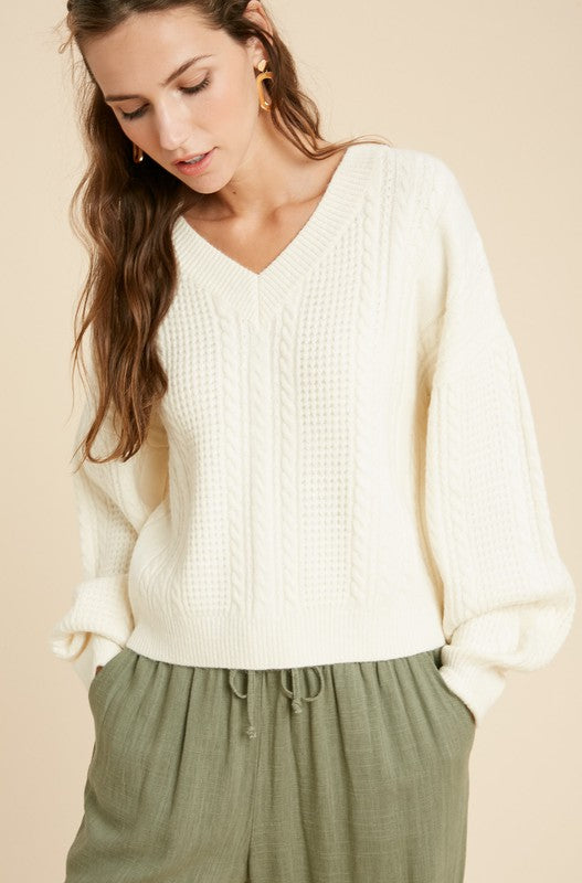 Cable Knit V-neck Pullover - SM / Cream ShopatGrace.com