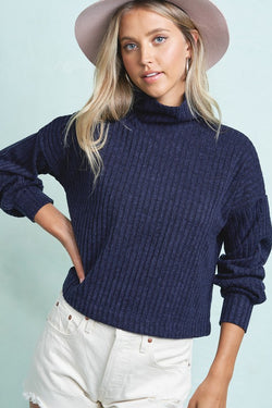 Mock Neck Ribbed Long Sleeve Top - S / TEAL ShopatGrace.com