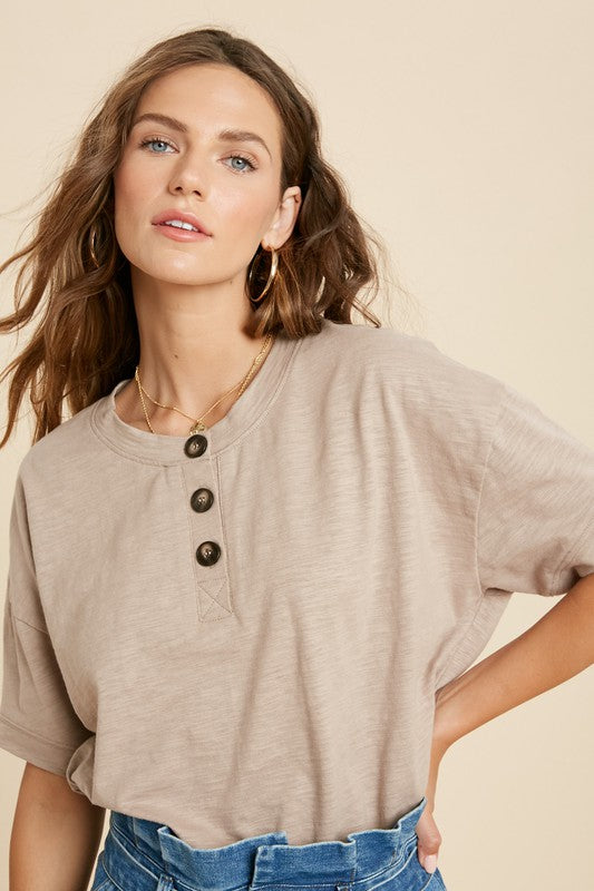 Henley Short Sleeve Top -  ShopatGrace.com