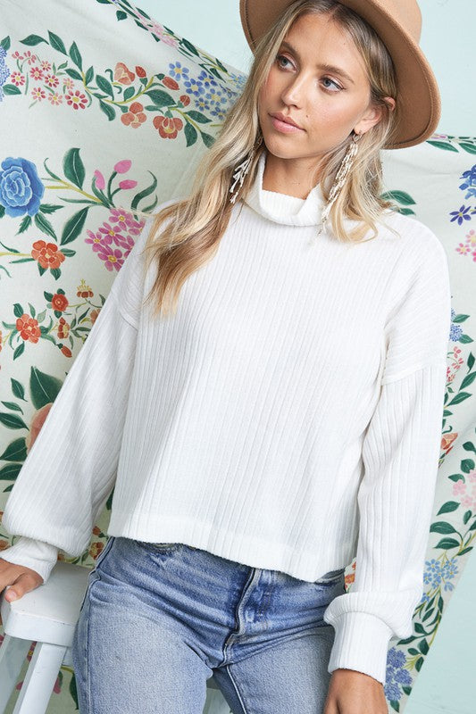 Mock Neck Ribbed Long Sleeve Top - S / IVORY ShopatGrace.com
