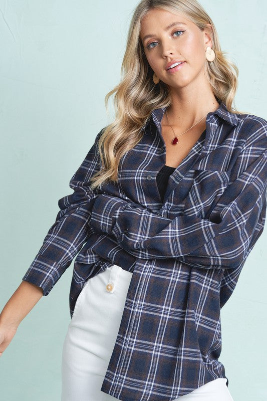 Hunter Boyfriend Shirt - S / NAVY ShopatGrace.com