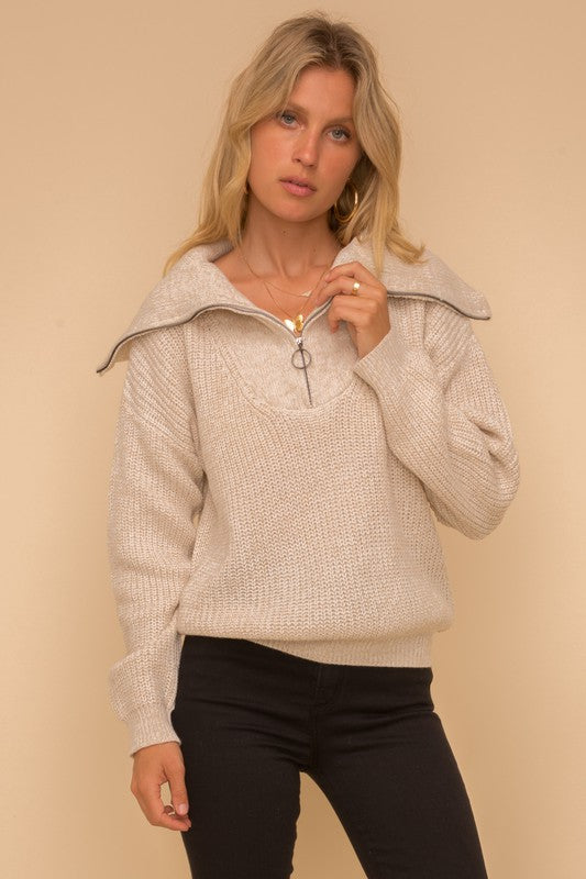 Half Zip Oatmeal Sweater -  ShopatGrace.com