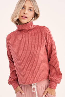 Mock Neck Ribbed Long Sleeve Top - S / MARSALA ShopatGrace.com