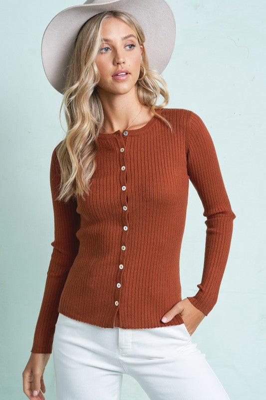 Long Sleeve Button up Cardigan - S / Rust ShopatGrace.com