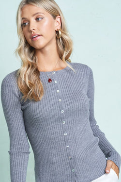 Long Sleeve Button up Cardigan - S / Heather Grey ShopatGrace.com