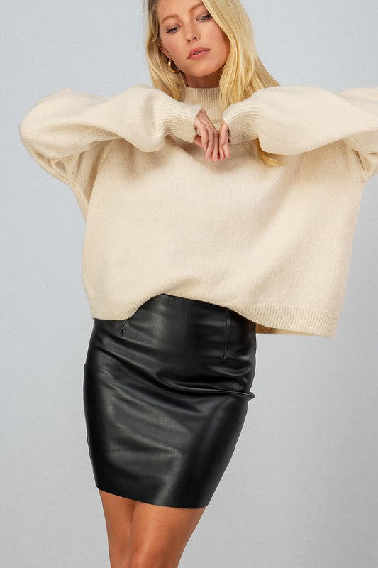 Mock Neck Cream Sweater -  ShopatGrace.com