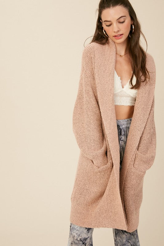 Ribbed Long Open Cardigan -  ShopatGrace.com