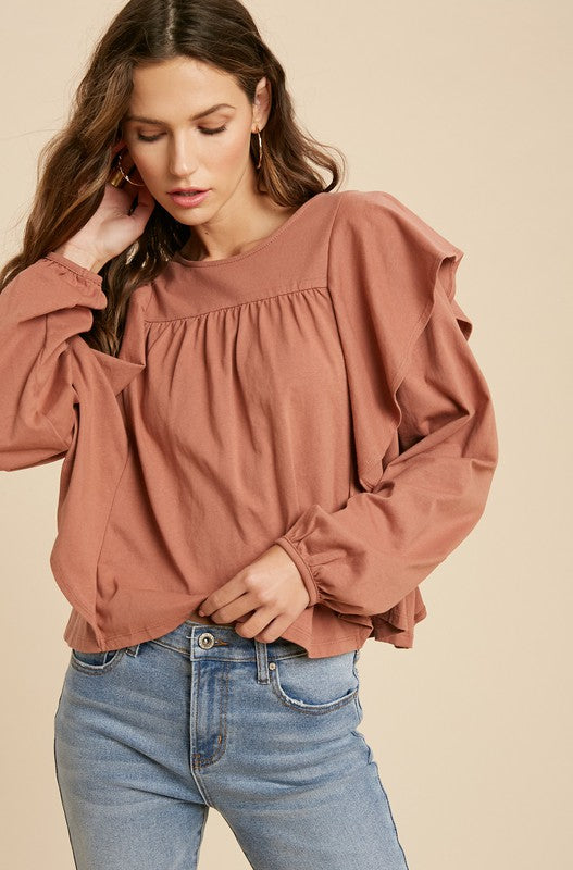 Cotton Ruffle Long Sleeve Top -  ShopatGrace.com