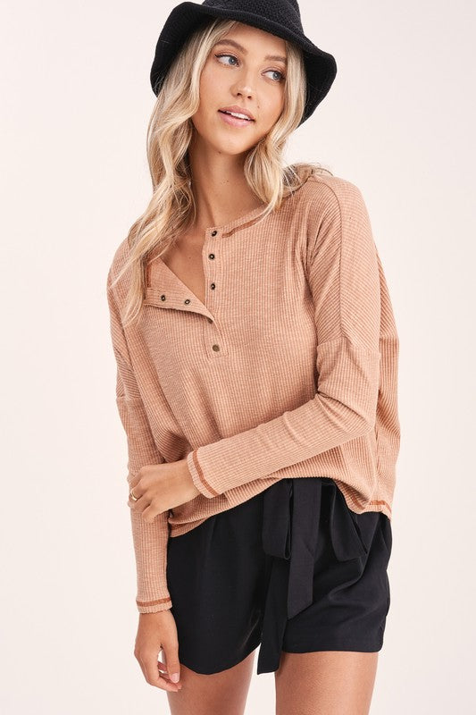Riley Seamed Henley - S / Ginger ShopatGrace.com
