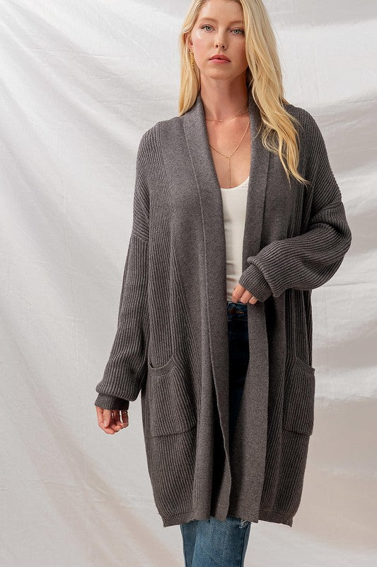 Ribbed Knit Cardigan with Pockets -  ShopatGrace.com