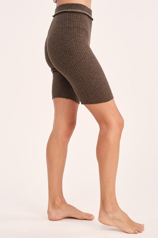 Ribbed Knit Bike Shorts - S / Olive ShopatGrace.com