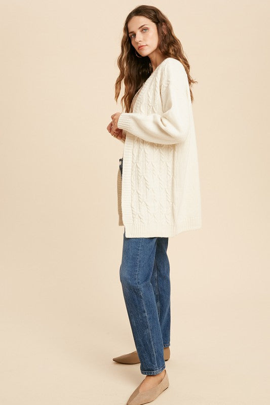 Cable Knit Open Cardigan -  ShopatGrace.com