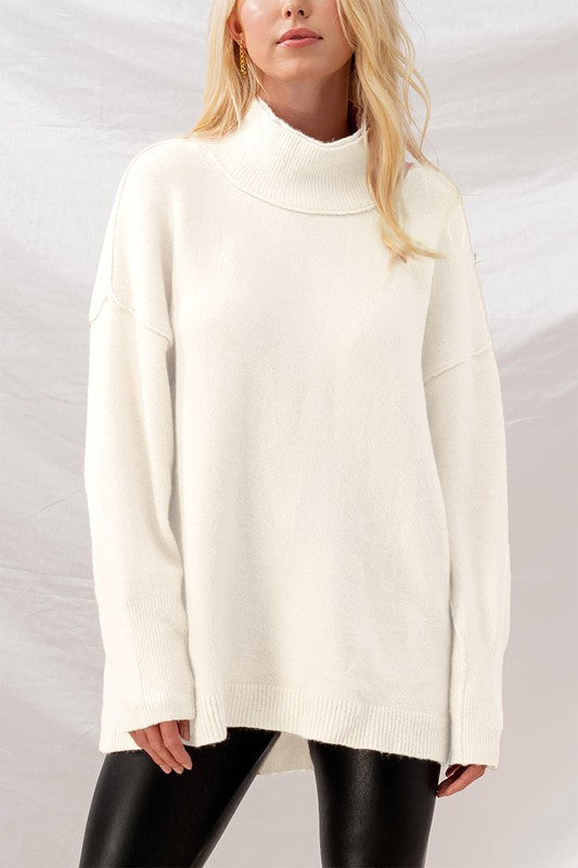 Double Layered Mock Neck Sweater -  ShopatGrace.com