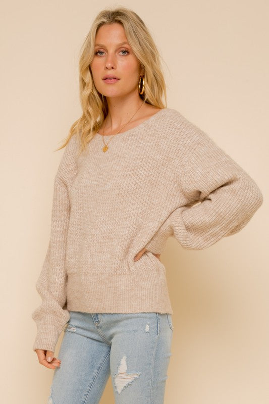 Melange Lace Up Sweater -  ShopatGrace.com