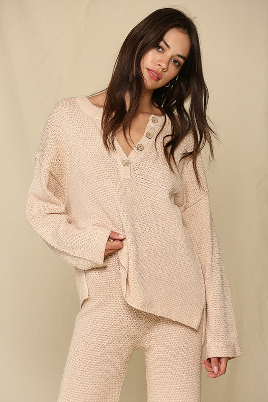 Oversized Henley Sweater -  ShopatGrace.com