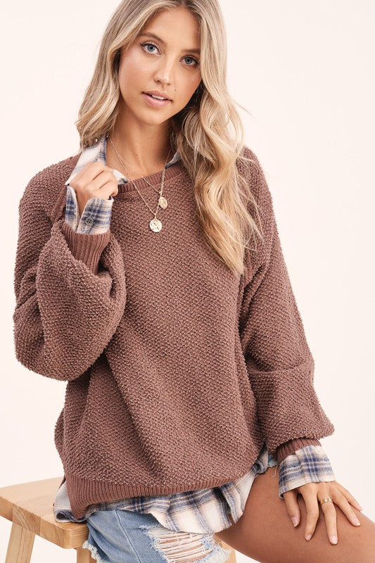 Carino Textured Sweater - S / Chocolate ShopatGrace.com