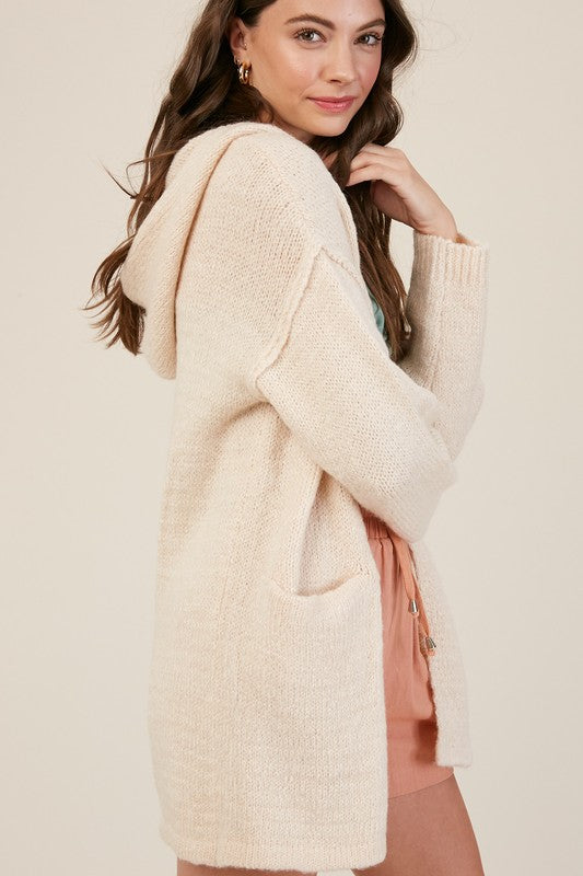 Hooded Open Cardigan Sweater -  ShopatGrace.com