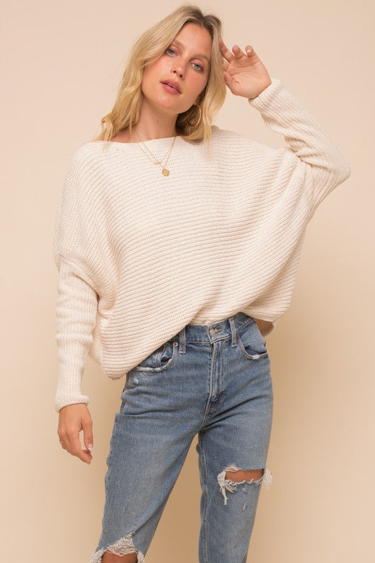 Boat Neck Cocoon Chenille Sweater - S / White ShopatGrace.com