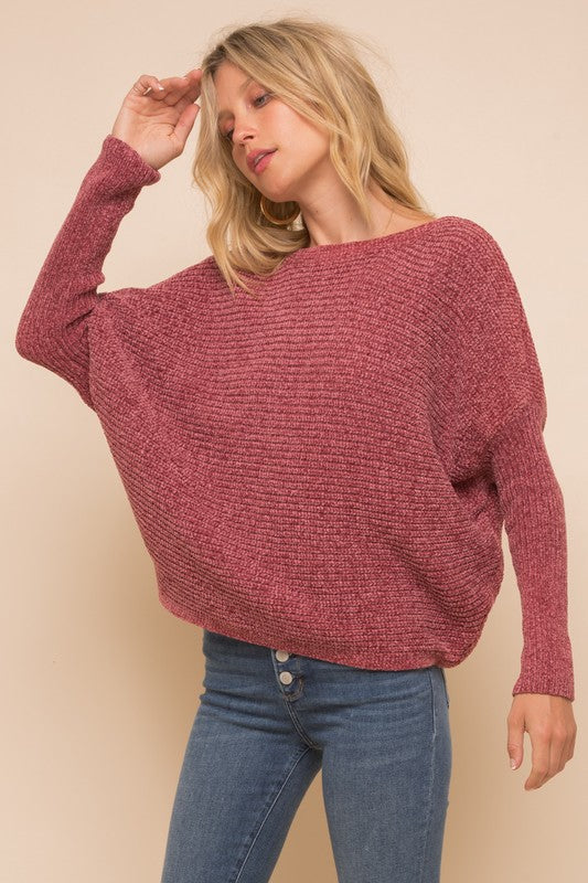 Boat Neck Cocoon Chenille Sweater - S / Rose ShopatGrace.com