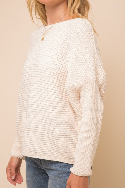 Boat Neck Cocoon Chenille Sweater -  ShopatGrace.com