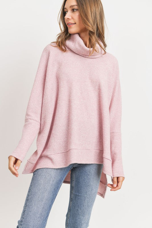 Turtleneck Side Slit Thermal Sweater -  ShopatGrace.com