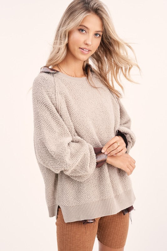 Carino Textured Sweater - S / Grey Taupe ShopatGrace.com