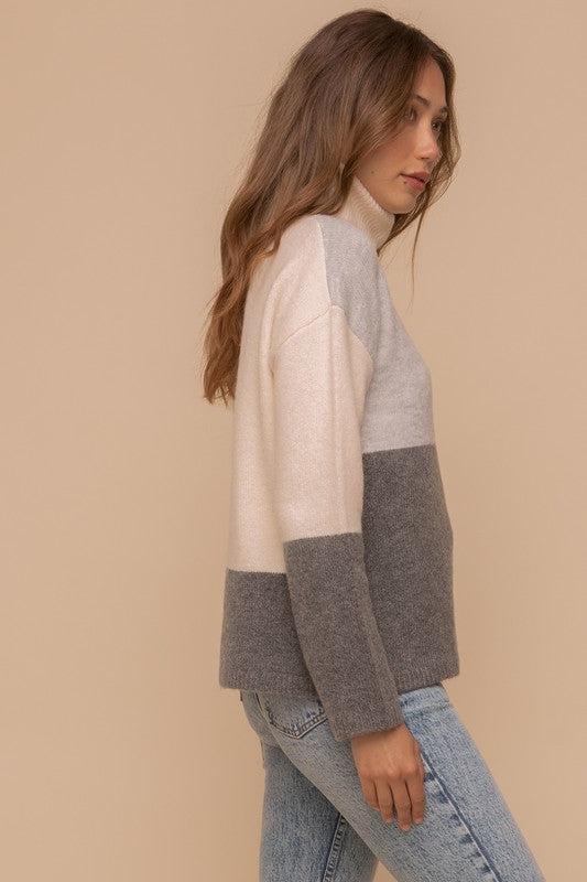 Monotone Color Block Turtleneck Sweater -  ShopatGrace.com