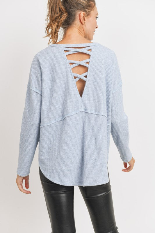 Criss Cross Back Thermal Top -  ShopatGrace.com
