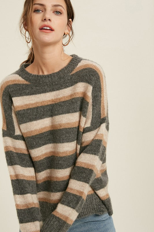 Brushed Striped Sweater -  ShopatGrace.com
