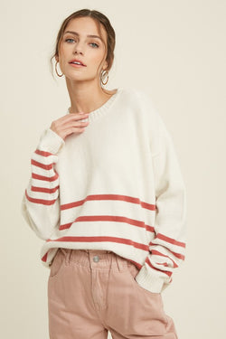 Stripe Sweater with Button Sides - SM / Cream/Ginger ShopatGrace.com