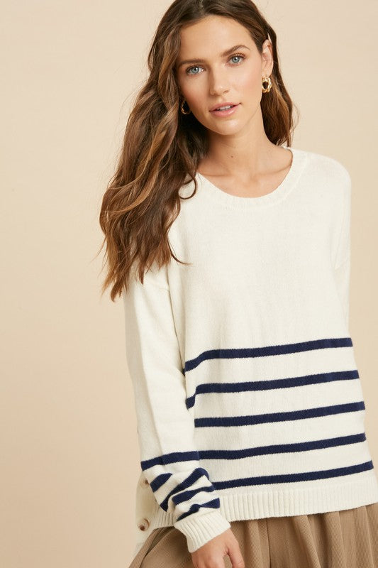 Stripe Sweater with Button Sides - SM / Cream/Navy ShopatGrace.com