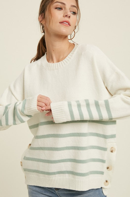 Stripe Sweater with Button Sides -  ShopatGrace.com