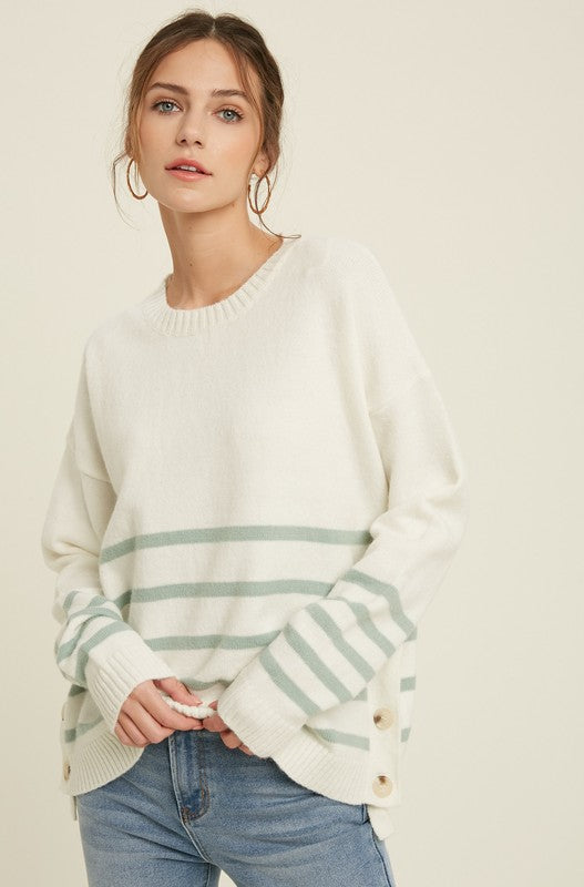 Stripe Sweater with Button Sides - SM / Cream/Aqua ShopatGrace.com