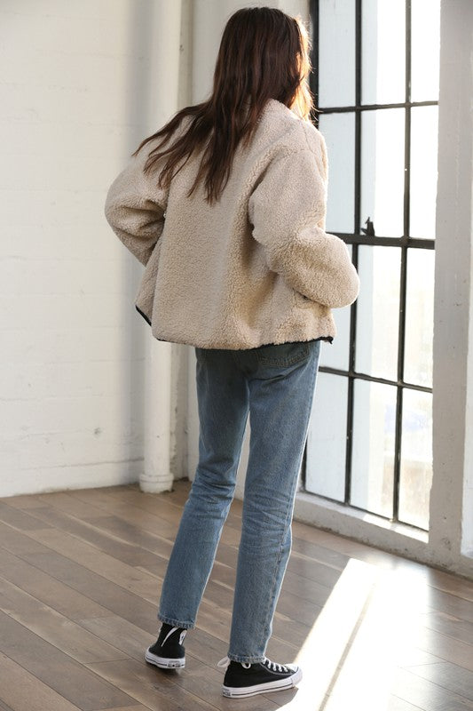 Faux Sherpa Zip Up Jacket -  ShopatGrace.com