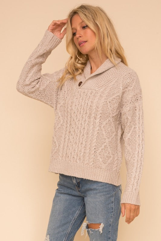 Shawl Collar Cable Knit Sweater -  ShopatGrace.com