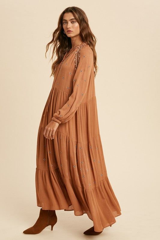 Boho Embroidered Tiered Dress -  ShopatGrace.com