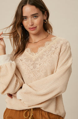 Lacey Waffle Knit Top - S / Natural ShopatGrace.com