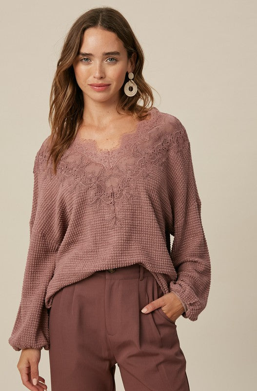 Lacey Waffle Knit Top - S / Maroon ShopatGrace.com