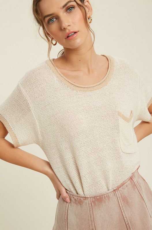 Contrast Band Sweater Top -  ShopatGrace.com