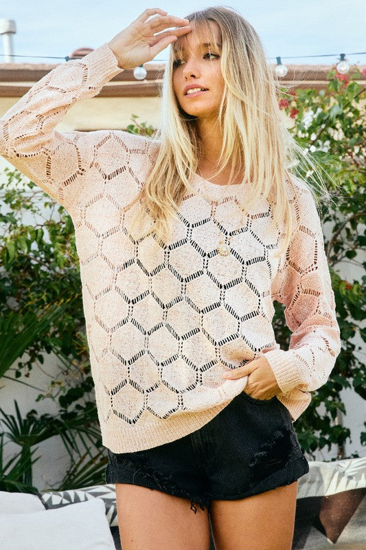 Solid Long-Sleeve Sheer Sweater with Crew neckline