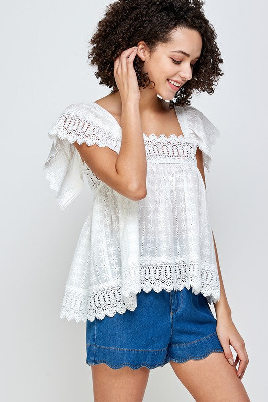Laced Ruffle Top -  ShopatGrace.com