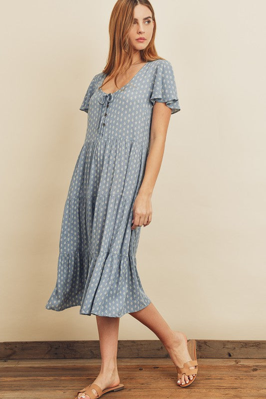 Paisley Dot Flutter Sleeve Midi Dress