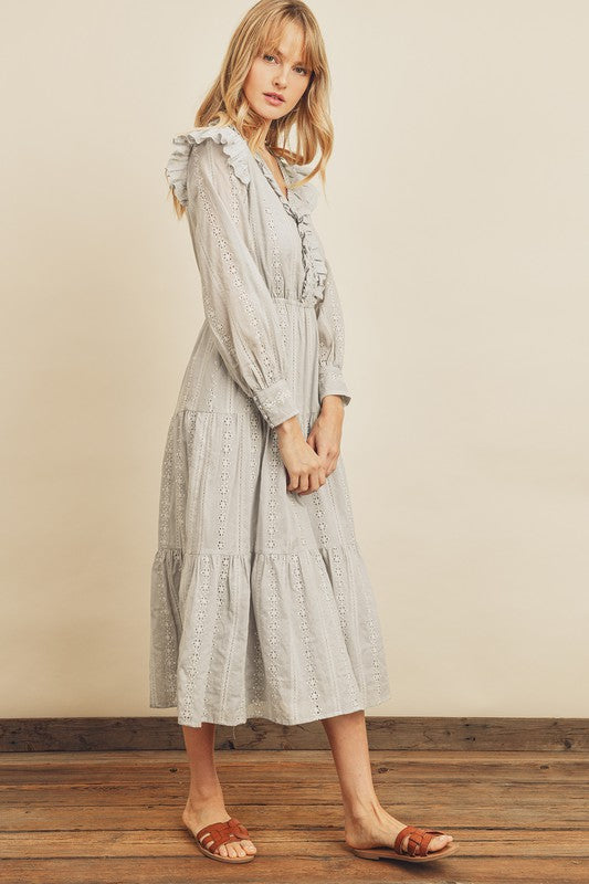 Striped Eyelet Ruffled Tiered Dress