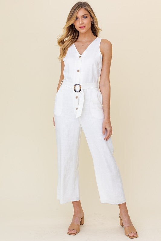 Sleeveless Button Down Jumpsuit -  ShopatGrace.com