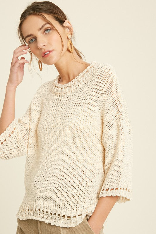 Detailed Open Knit Sweater -  ShopatGrace.com