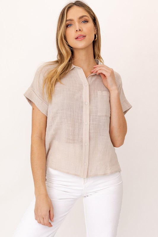 Button Down Blouse - S / Taupe ShopatGrace.com