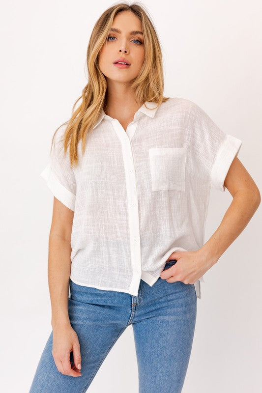 Button Down Blouse - S / White ShopatGrace.com