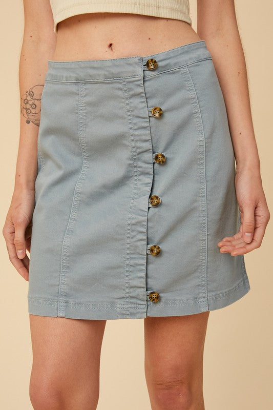 Button Front Cotton Skirt -  ShopatGrace.com